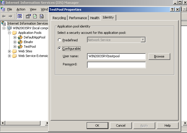 Application Pool identity and Directory Security in IIS6