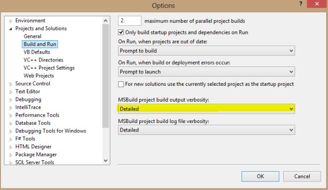 MSBuild output settings