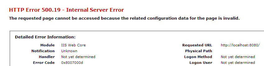 500.19 - Internal Server Error